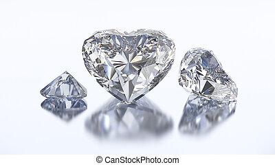 3D illustration three heart diamond stone