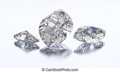3D illustration three marquise diamond stone on a white blue...