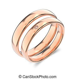 3D illustration two classic rose gold rings with diamond on a white background