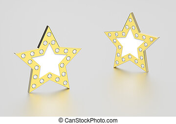 3D illustration two gold stars with diamonds