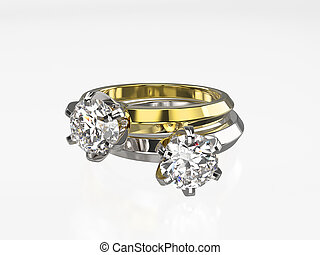 3D illustration two silver and gold rings with diamonds on a grey background