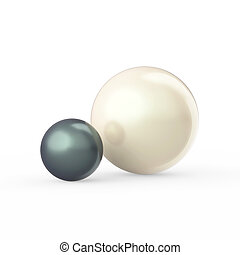 3D illustration two white and dark green black pearls on a white background