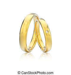 3D illustration two yellow gold classic wedding rings with diamond with reflection