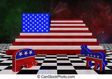 3D Illustration. USA map with USA flag superimposed with the party logo of the Republican party and the Democratic party .