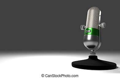3d illustration Vintage Metal Microphone with green ring standing on a white desk