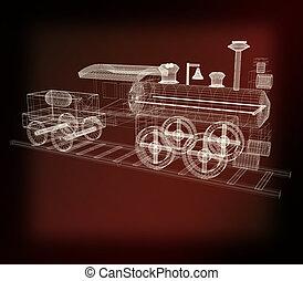 . 3D illustration. Vintage style.