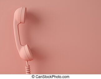3D Illustration. Vintage telephone with spiral cable.