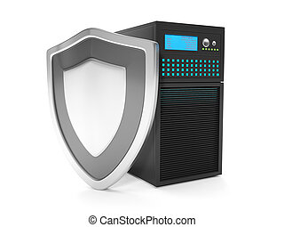 3d illustration: Virus protection servers. Server and silver shield