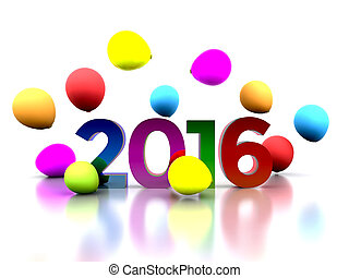 New Year 2016 - 3D illustration - we celebrate the New Year...