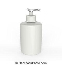 3D illustration white ceramic bottle with liquid soap