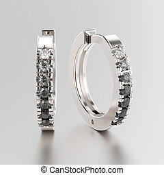 3D illustration white gold or silver decorative earrings hinged lock with black and white gradient diamonds