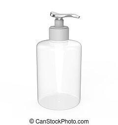 3D illustration white plastic bottle with liquid soap