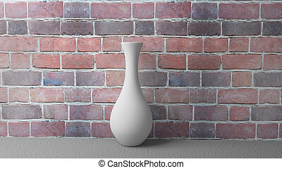3d Illustration White Vase on the Background of a Brick Wall