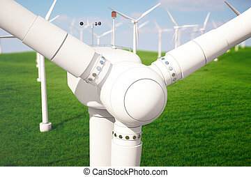 3d illustration, wind turbine with blue sky. Energy and...