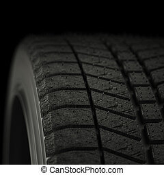 3d illustration winter tires in black background