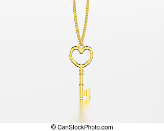 3D illustration yellow gold decorative key in the form of a heart necklace on chain with reflection and shadow