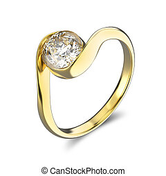 3D illustration yellow gold ring bypass with diamond
