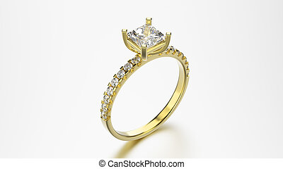 3D illustration yellow gold ring with diamonds