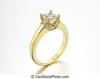 3D illustration yellow gold ring with diamonds on a grey background