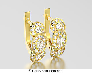 3D illustration yellow gold three stone solitaire  diamond earrings with hinged lock on a grey background