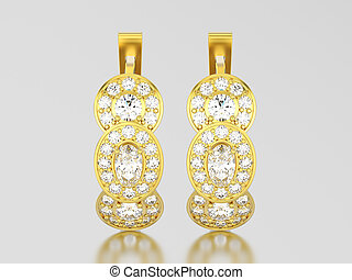 3D illustration yellow gold three stone solitaire  diamond earrings with hinged lock