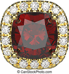 3D illustration zoom isolated gold ring with diamonds and ruby