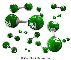 3D Illustrator molecule of Nitrogen on a white background