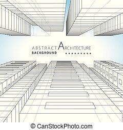 3d, illustrazione, architettura, astratto, costruzione, urbano, fondo., disegno
