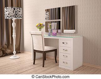 Credenza Moderna Con Espejo : Illustration. interior. specchio bianco credenza 3d.