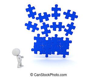 3d, illustrazione, di, blu, pezzo enigma, cadendo posto, con, carattere, guardando, loro
