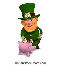 3d, illustrazione, di, santo, patrick, con, banca piggy