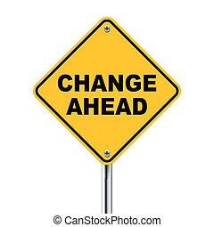 3d, ilustração, de, amarela, roadsign, de, mudança, à frente
