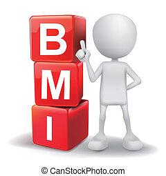 3d, ilustração, de, pessoa, com, palavra, bmi, cubos