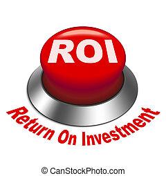 3d, ilustração, de, roi, (return, ligado, investment), botão