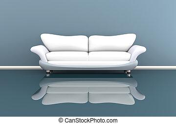 3d, ilustração, de, um, sofá branco, em, um, cinzento, sala