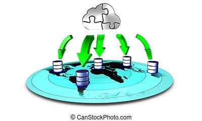 3d, ilustración, de, base de datos, nube, reserva