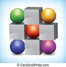 3d, ilustración, de, coloreado, esferas, y, gris, cubos