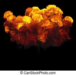 3d, ilustración, de, explosión, fuego, nube