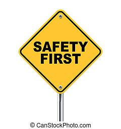 3d, ilustración, de, seguridad primero, muestra del camino