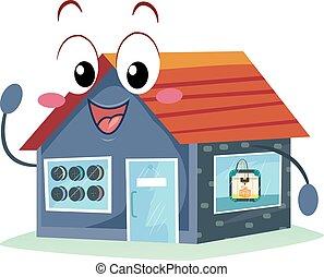 3d, ilustración, tienda, impresión, mascota
