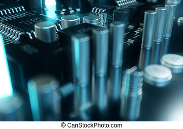 3d, ilustración, viruta de computadora, un, procesador, en, un, circuito impreso, board., el, concepto, de, transferencia de datos, a, el, cloud., central, procesador, en, el, forma, de, artificial, intelligence., transferencia de datos