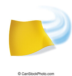 3d ilustration, yellow cloth cleaning