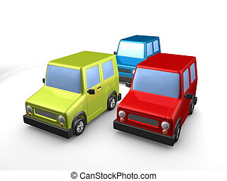 3d image, 3 cars, isolated background