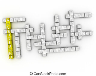 3d image Advertising word cloud concept