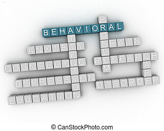 3d image Behavioral issues concept word cloud background