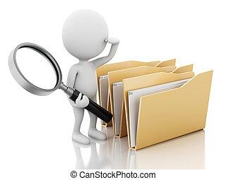3d, image., blanco, gente, examina, folders.