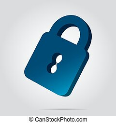3D image - blue closed padlock icon with shadow