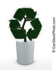 3d image, bonsai tree conceptual , recycle sign