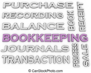 3d image Bookkeeping issues concept word cloud background