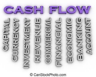 3d image cash flow   issues concept word cloud background